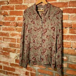 J. Jill Floral Ruffled Neckline Button-Up Blouse